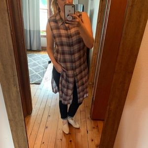 F21 Plaid Cut Off Split Side Duster